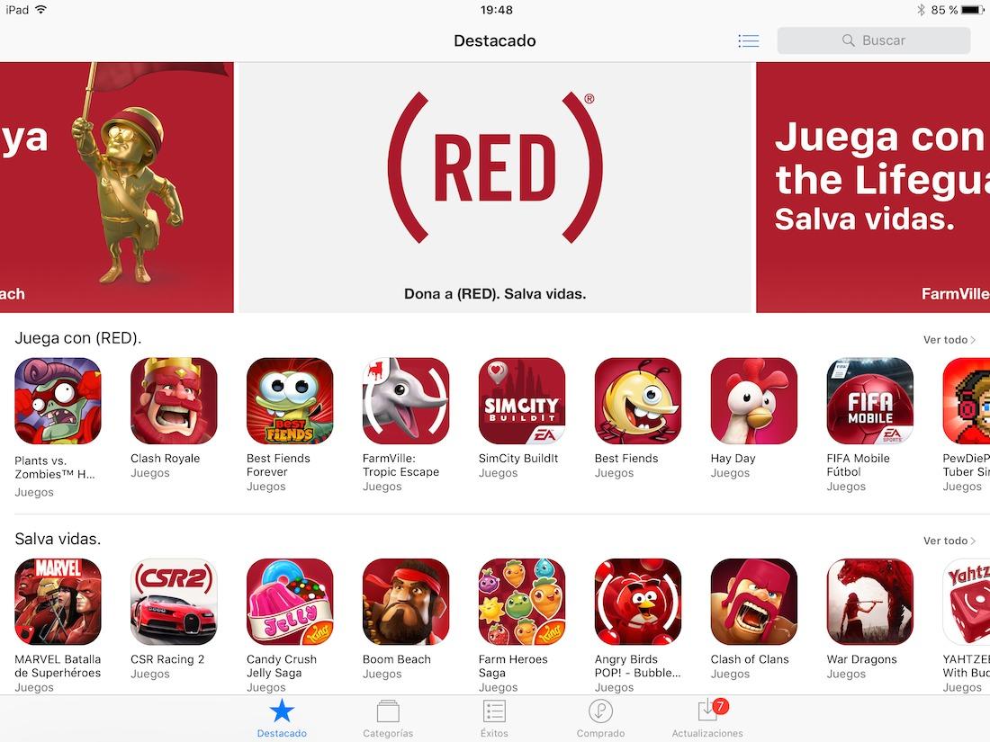 La App Store se vuelve roja (RED) para luchar contra el sida
