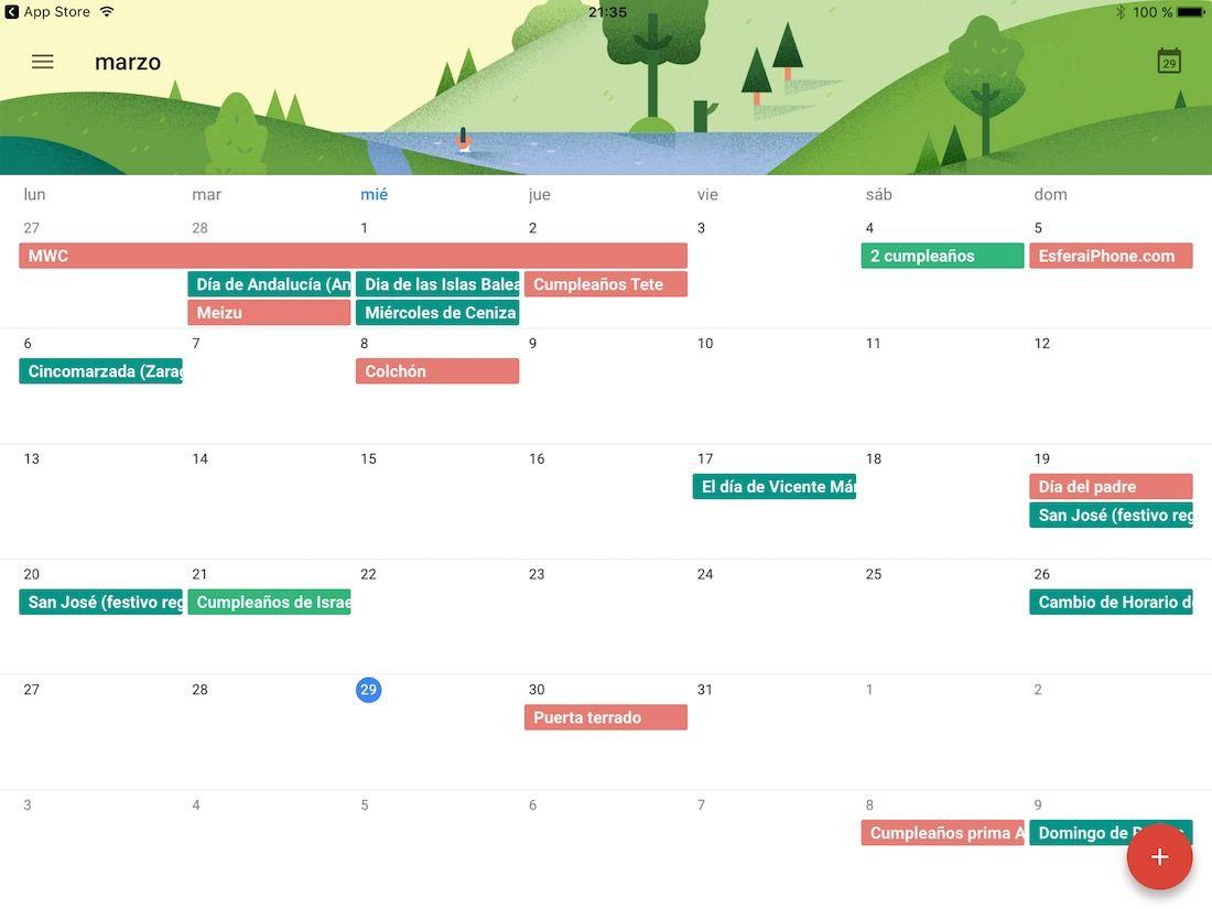 Google Calendar para iPad