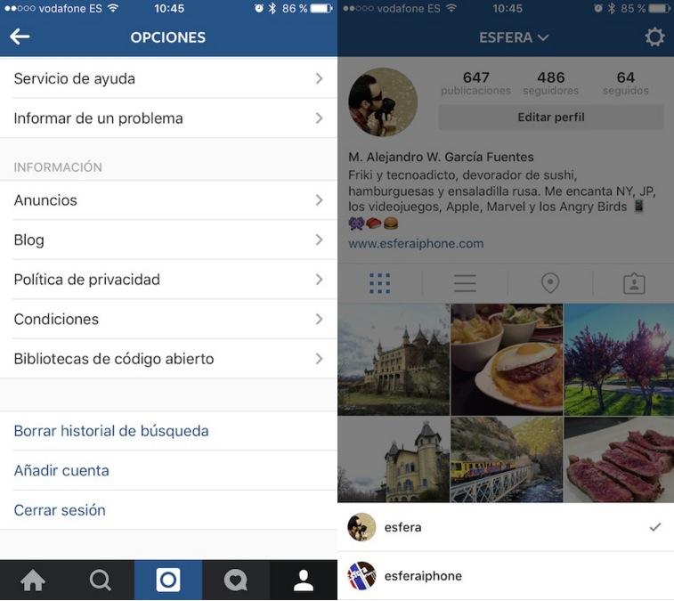Instagram ya permite usar hasta 5 cuentas diferentes a la vez