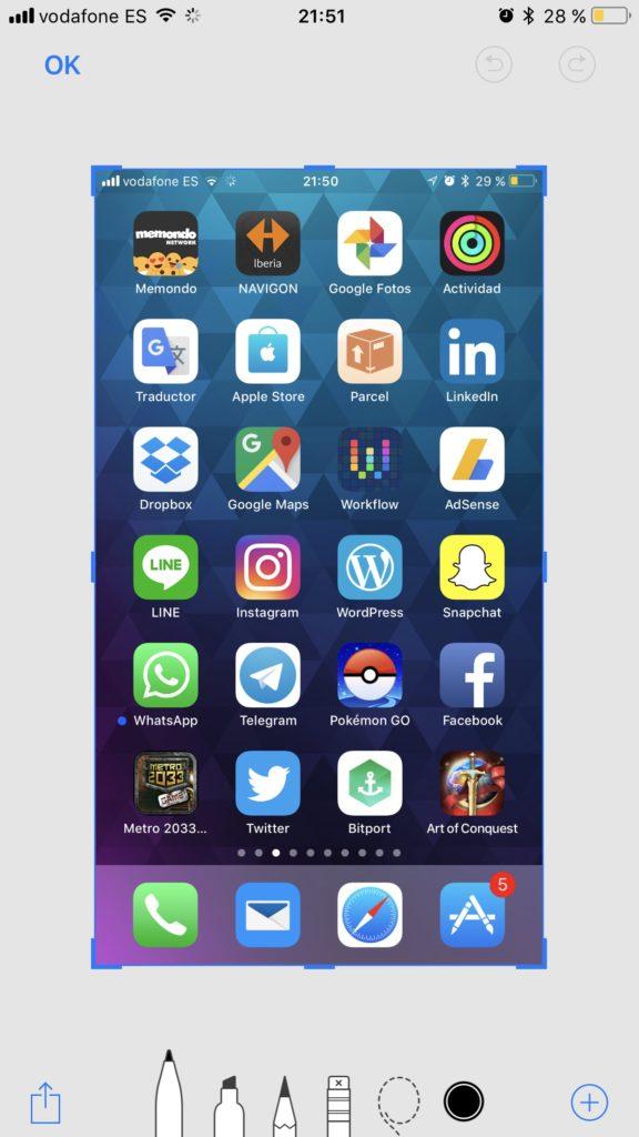 Marcacion capturas iOS 11