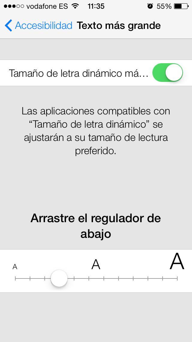 Tamaño de letra iOS 7