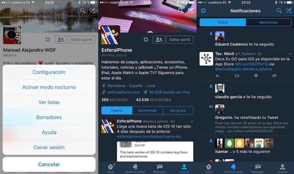 El modo nocturno de Twitter ya se puede usar en iOS