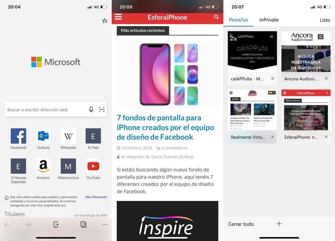 Microsoft Edge para iPhone