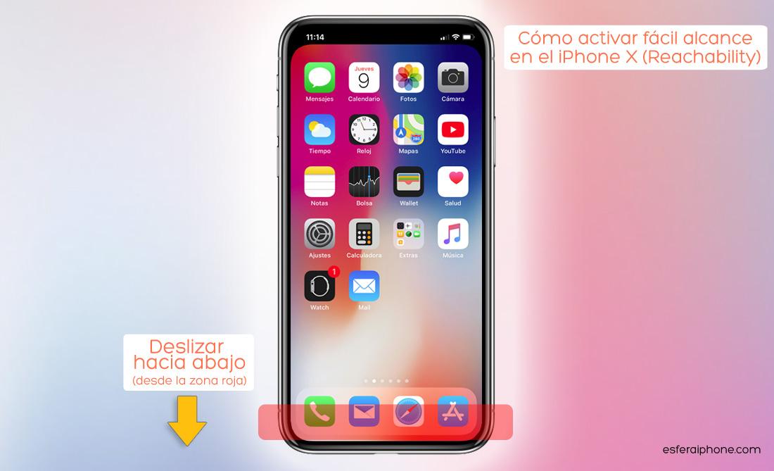 Activar fácil alcance iPhone x