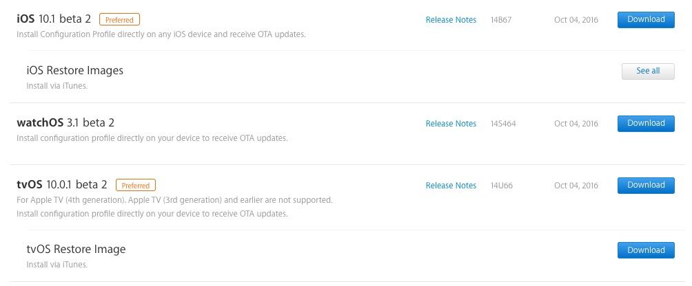 iOS 10.1 beta-RC 2