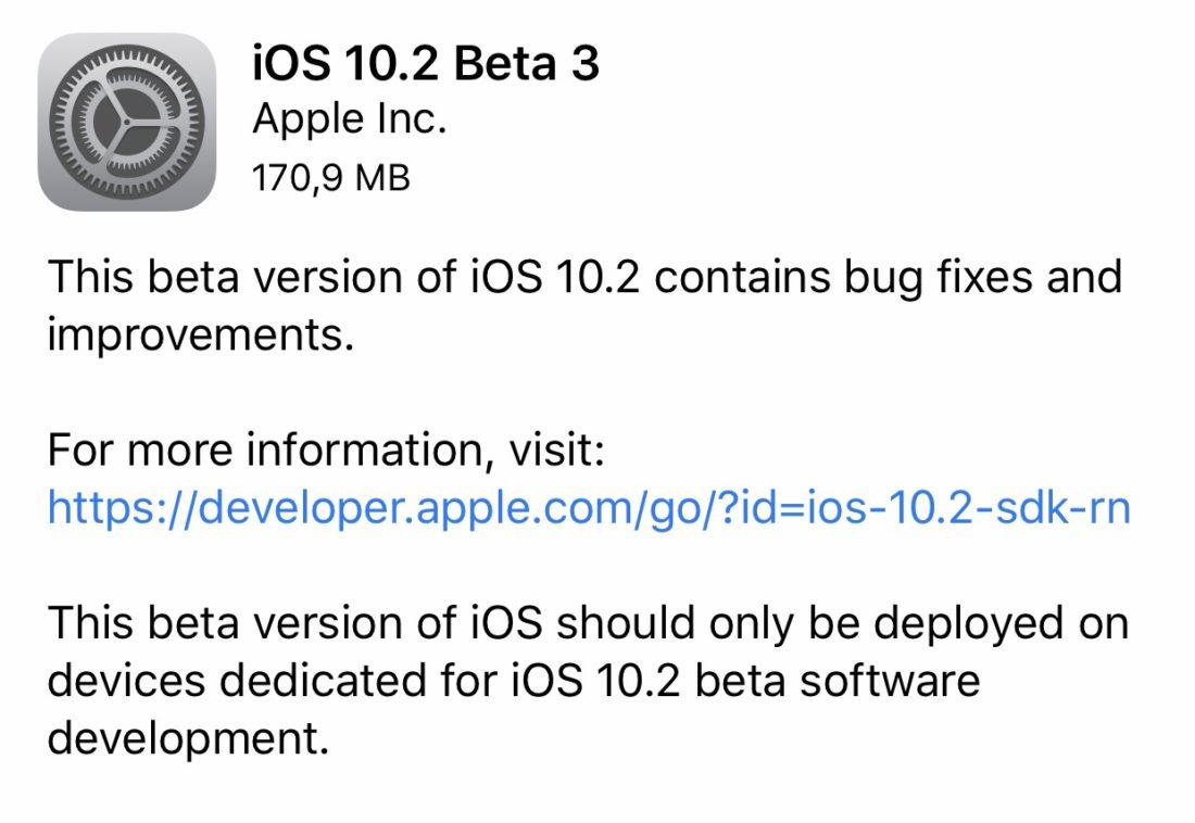 iOS 10.2 beta 3