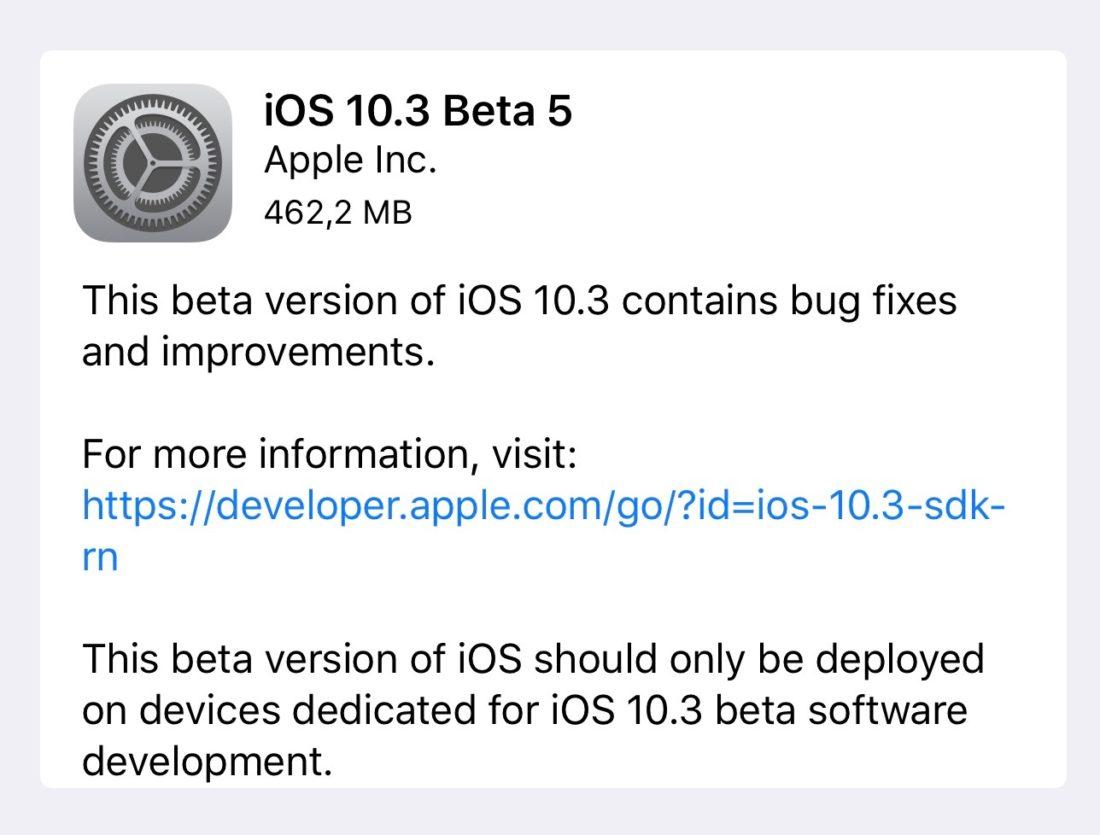 iOS 10.3 beta(programa) 5