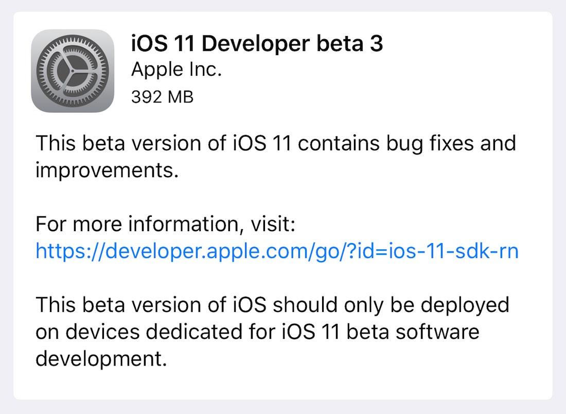 iOS 11 beta(programa) 3