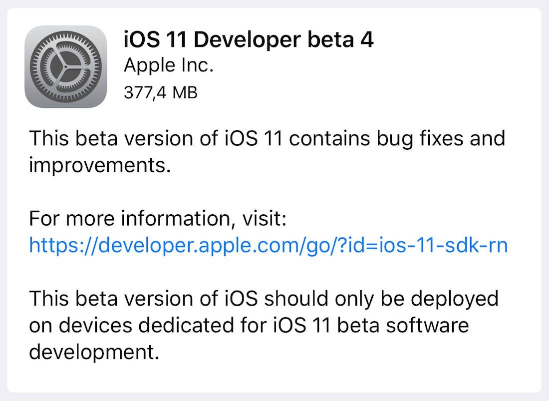 iOS 11 beta(programa) 4