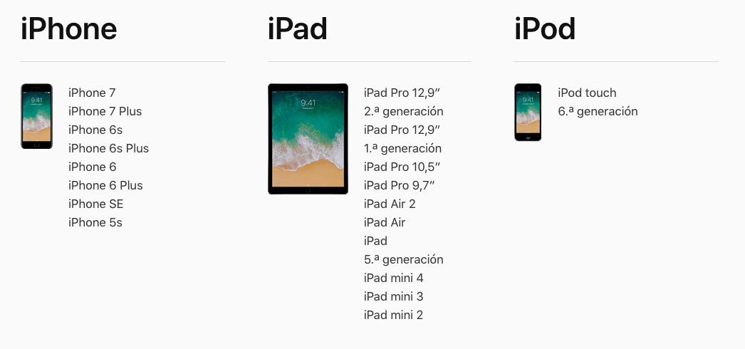 iOS 11 aparatos compatibles